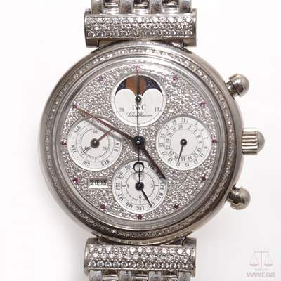 IWC Da Vinci Perpetual Calendar white gold 18k Case and strap with factory Diamond fixing